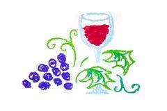 вино стеклянного grap красное иллюстрация штока