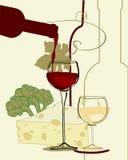 вино сыра полосы стеклянное красное Стоковые Изображения