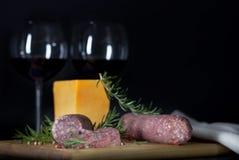Вино сыра салями Стоковое фото RF