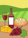 Вино, сыр и хлеб Бесплатная Иллюстрация