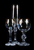 вино установленное стеклами Стоковое Изображение