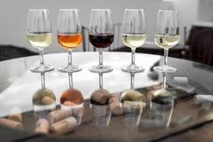 Вино установленное для пробовать Стоковое Изображение