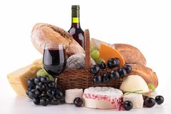 Вино, хлеб, сыр Стоковая Фотография RF