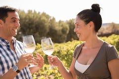Вино человека и женщины выпивая в винограднике Стоковое Фото