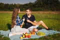 Вино человека и женщины выпивая на пикнике круассан, банан, виноградины Стоковые Изображения RF