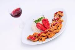 вино экстренныйого выпуска риса плиты lass цыпленка Стоковая Фотография