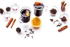 вино mulled ингридиентами Циннамон специй и badian, цитрусовые фрукты на белом copyspace предпосылки Стоковое фото RF