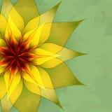 Винтажная абстрактная зеленая предпосылка с цветком иллюстрация штока