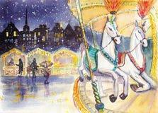 Винтажная акварель carousel бесплатная иллюстрация