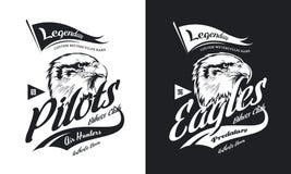 Винтажная американская злющая таможня орла велосипед логотип вектора футболки клуба мотора черно-белый изолированный иллюстрация вектора