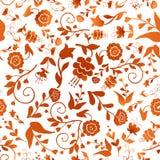 Винтажная безшовная картина с красными цветками на белой предпосылке Стоковая Фотография RF