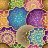 Винтажная безшовная картина с красочными кругами градиента стоковая фотография rf