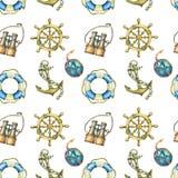 Винтажная безшовная картина с морскими элементами, на белой предпосылке Старое море бинокулярное, lifebuoy, античное кормило пару Стоковая Фотография RF