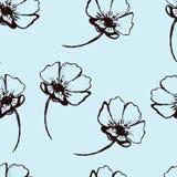 Винтажная безшовная картина с нарисованными вручную цветками Стоковое фото RF