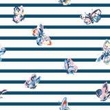 Винтажная безшовная картина с нашивками и бабочками Стоковое Изображение RF