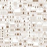 Винтажная безшовная картина с домами Стоковое Изображение RF