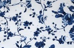 Винтажная белая и голубая хлопко-бумажная ткань Стоковое Изображение RF