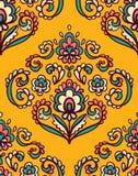 Винтажная богато украшенная безшовная картина с восточными флористическими элементами Орнаментальная предпосылка вектора Стоковое Изображение RF