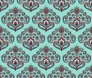 Винтажная богато украшенная безшовная картина с восточными флористическими элементами Орнаментальная предпосылка вектора Стоковые Фото