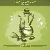 Винтажная бутылка оливкового масла с оливковой веткой Иллюстрация вектора