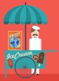 Винтажная будочка /illustration мороженого Стоковое фото RF