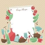 Винтажная варя страница рецепта книги с овощами Стоковая Фотография