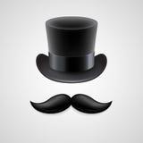 Винтажная верхняя шляпа, усики также вектор иллюстрации притяжки corel иллюстрация вектора