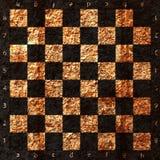 Винтажная великолепная старая поцарапанная пустая шахматная доска Стоковое Изображение