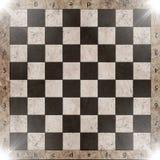 Винтажная великолепная старая поцарапанная пустая шахматная доска Стоковые Изображения