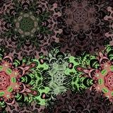 Винтажная восточная безшовная картина в глубоких бежевых цветах Индийский, арабский, тахта, turkish, японцы, китайский флористиче Стоковые Фото