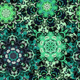 Винтажная восточная безшовная картина в зеленых цветах Индийский, арабский, тахта, turkish, японцы, китайский флористический моти Стоковая Фотография RF