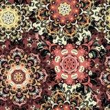 Винтажная восточная безшовная картина Индийский, арабский, тахта, turkish, японцы, китайский флористический мотив для предпосылки Стоковые Изображения