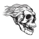 Винтажная волосатая иллюстрация черепа Стоковые Изображения RF