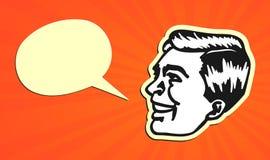 Винтажная говорящая голова человека с пузырем речи иллюстрация штока