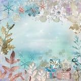 Винтажная голубая предпосылка Красивое знамя рождества иллюстрация штока