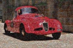 Винтажная гоночная машина, мозаика стоковые изображения