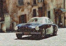 Винтажная гоночная машина, мозаика стоковые изображения rf