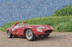 Винтажная гоночная машина, мозаика стоковое изображение rf