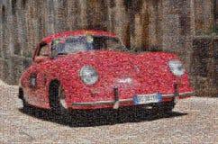 Винтажная гоночная машина, мозаика стоковое фото