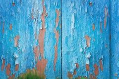 Винтажная голубая деревянная предпосылка с краской шелушения стоковые фото