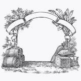 Винтажная гравировка бочонка иллюстрация штока