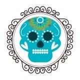 Винтажная граница с декоративным орнаментальным черепом сахара Стоковое Изображение RF