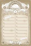 Винтажная графическая страница для меню цыпленка Стоковое Фото