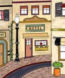 Винтажная главная улица иллюстрация вектора