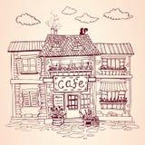 Винтажная европейская улица Уютный дом кафа Нарисованная рукой иллюстрация вектора Стоковая Фотография RF