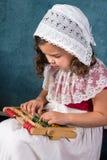 Винтажная девушка с абакусом Стоковое Фото