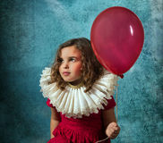 Винтажная девушка с воздушным шаром Стоковое фото RF