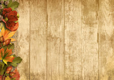 Винтажная деревянная предпосылка с украшениями осени Стоковое фото RF