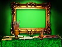 Винтажная деревянная рамка в студии художника, зеленой Стоковые Фотографии RF