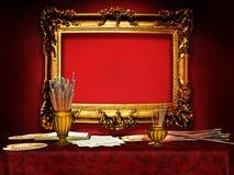Винтажная деревянная рамка в студии художника Стоковые Изображения